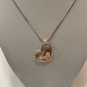 Jewelry - Womens Necklace Large 3D Double Heart Stainless